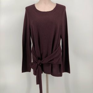 New JJill Top Eggplant Color Front Tie Sz L Petite